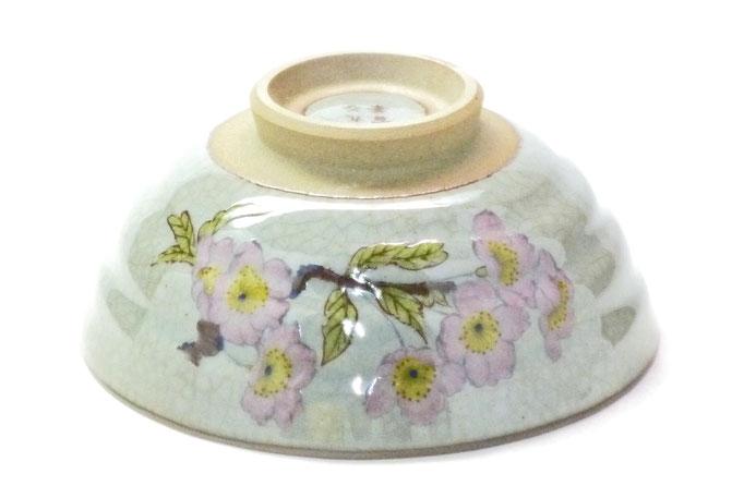 九谷焼通販 おしゃれ ギフト 飯碗 茶わん ご飯茶碗 小 桜 ソメイヨシノ 中絵 正面の図