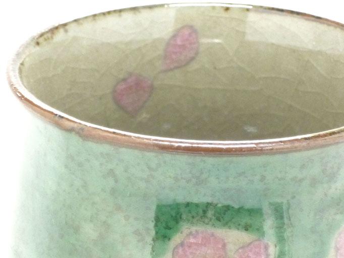 九谷焼通販 お湯呑 湯飲み ゆのみ茶碗 おしゃれ 大 ソメイヨシノ緑塗り 中絵