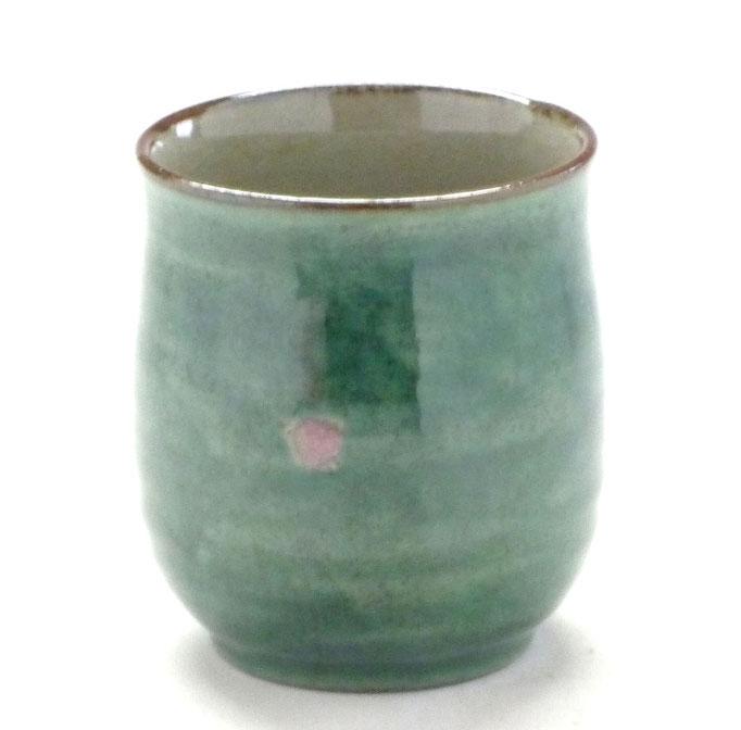 九谷焼通販 お湯呑 湯飲み ゆのみ茶碗 おしゃれ 大 ソメイヨシノ緑塗り 中絵 後ろの図