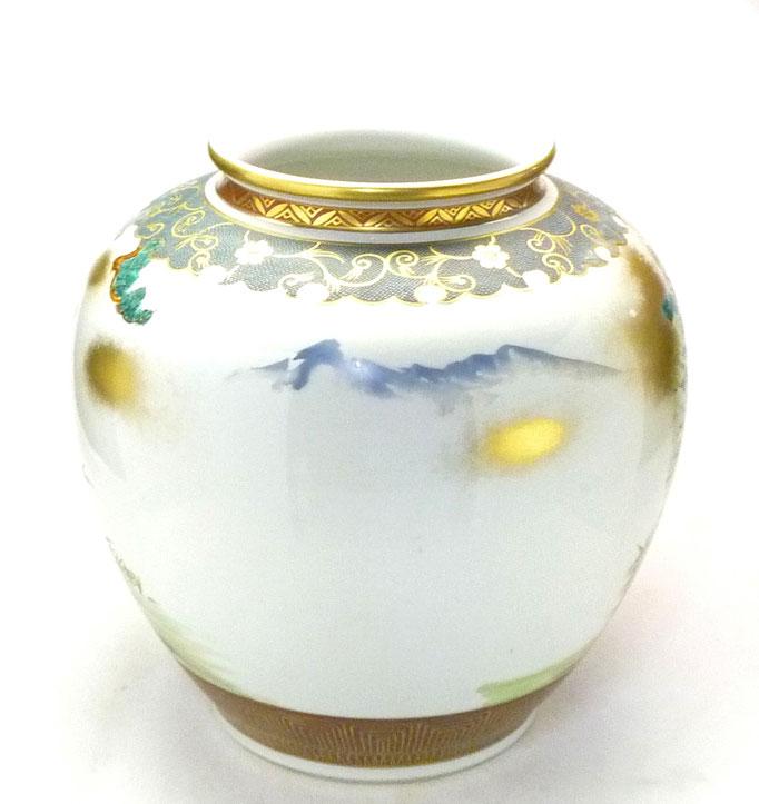 九谷焼通販 おしゃれな花瓶 花器 本金七福神青粒 10号 背中の図