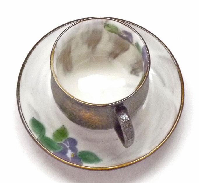 九谷焼【カップ&ソーサー】紫椿