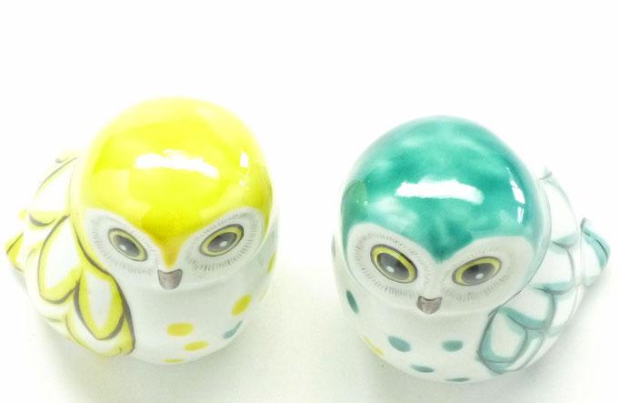九谷焼【ペア梟】緑彩 3寸 裏書