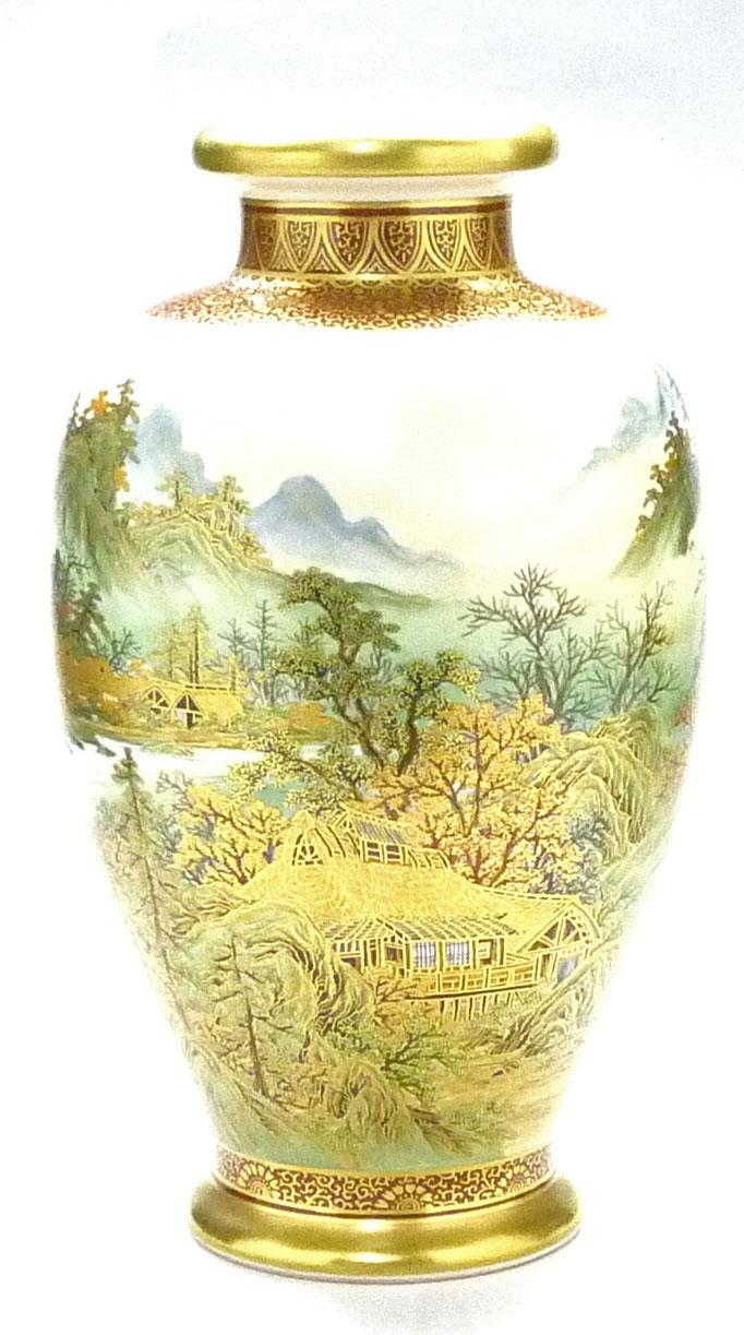 九谷焼通販 おしゃれな花瓶 花器 本金 秋の図 アップの図