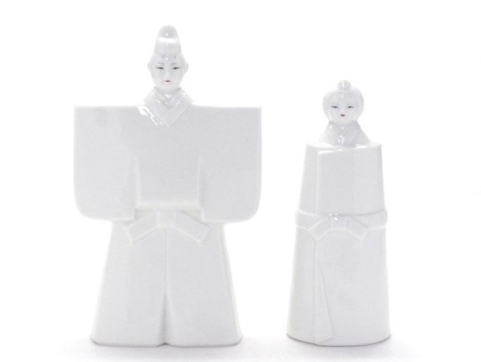 九谷焼 雛人形 お雛様 初節句 ホワイト 立雛 5.5号 裏書 木箱台付 正面の図