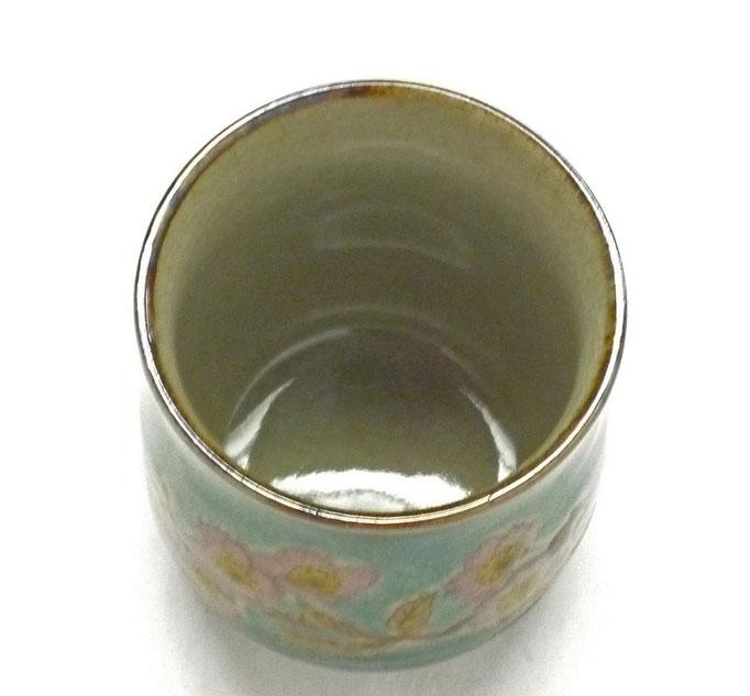 九谷焼通販 お湯呑 湯飲み ゆのみ茶碗 おしゃれ 大 ソメイヨシノ緑塗り 裏絵 中の図
