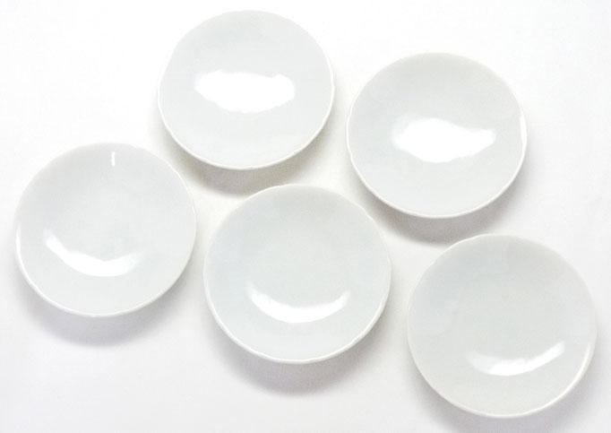 九谷焼『皿揃え』草花絵変り兎 3寸花弁型 裏絵