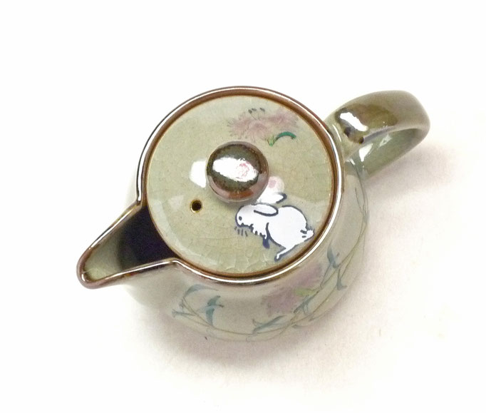九谷焼通販 おしゃれな急須 茶器 ティーポット 小 白兎なでしこ『裏絵』上からの図