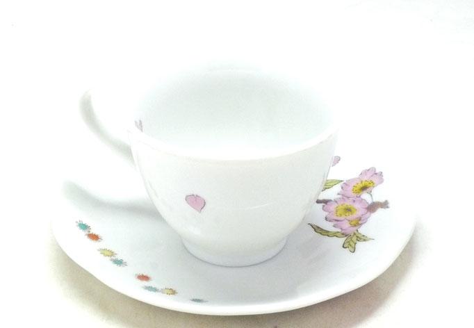 九谷焼通販 おしゃれ ギフト カップ&ソーサー コーヒカップ コーヒー碗  ソメイヨシノ 裏絵