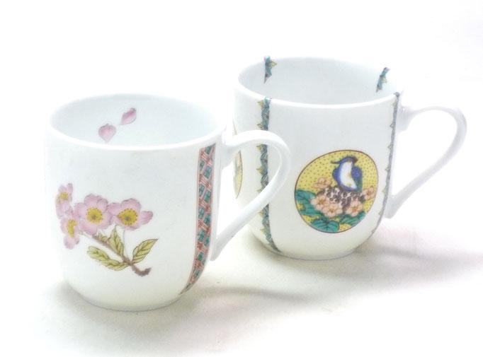 九谷焼 マグカップ マグ ペア 磁器 ソメイヨシノ&丸紋吉田屋花鳥 中裏絵 正面の図