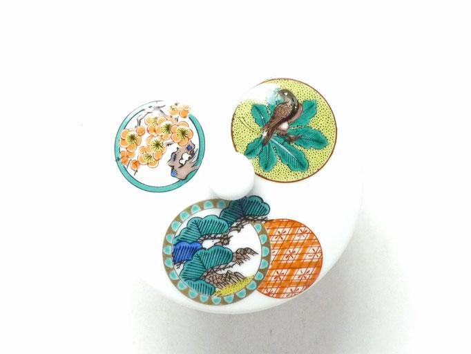 九谷焼【蓋付湯呑】丸紋松竹梅 打ち出の小槌 中絵(シール焼)