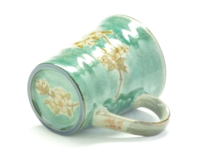九谷焼 マグカップ しだれ桜緑塗り 裏絵