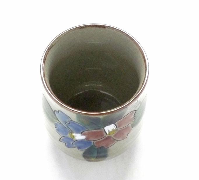 九谷焼【お湯呑】大 コンビ山茶花【裏絵】