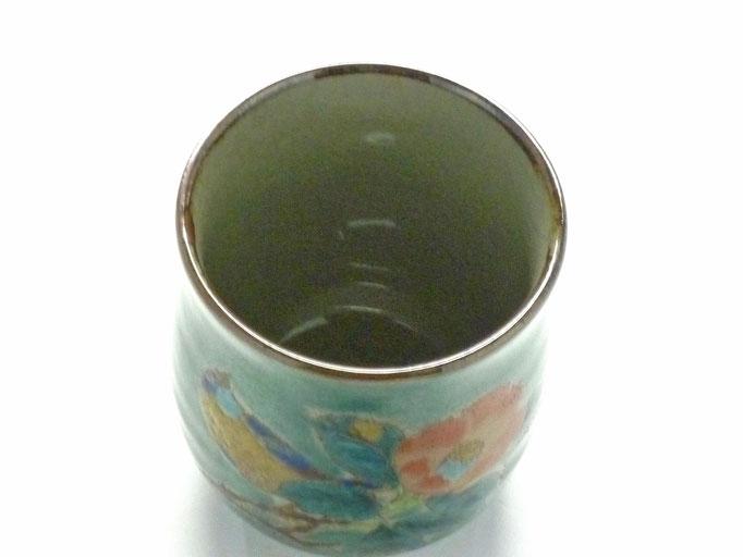 九谷焼 お湯呑 小 椿に鳥緑塗り 裏絵