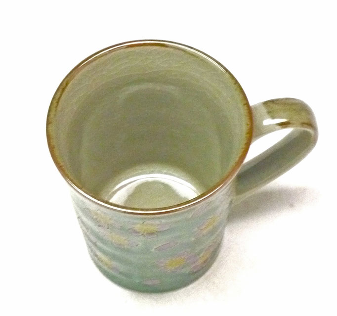 九谷焼通販 おしゃれなマグカップ マグ グリーン地桜 裏絵 上からの図