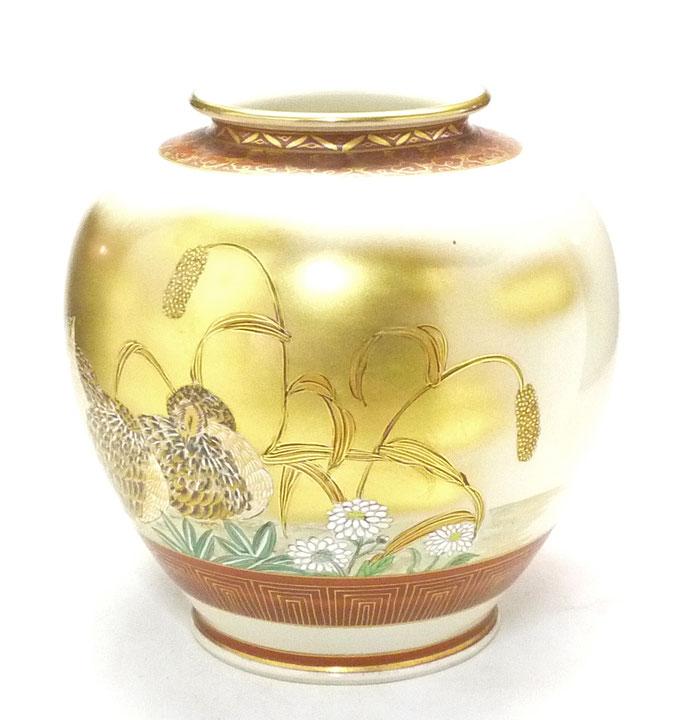 九谷焼通販 おしゃれな花瓶 花器 本金うずら 6号 横からの図