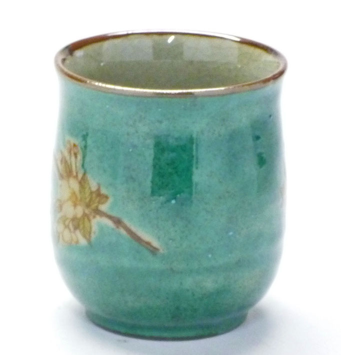 九谷焼『お湯呑』大 しだれ桜 緑塗り 裏絵