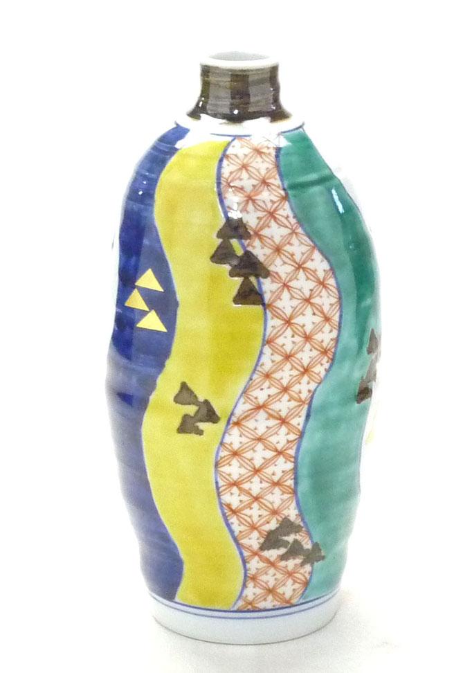 九谷焼通販 おしゃれな花瓶 花器 色絵 紙風船 正面の図