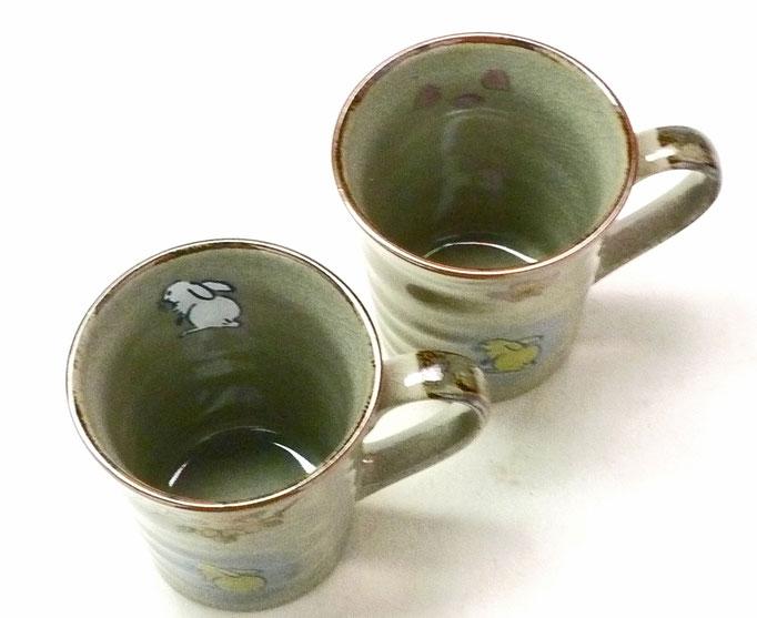 九谷焼通販 ペアマグカップ マグ 白兎しだれ桜&ソメイヨシノ 裏絵 中の図