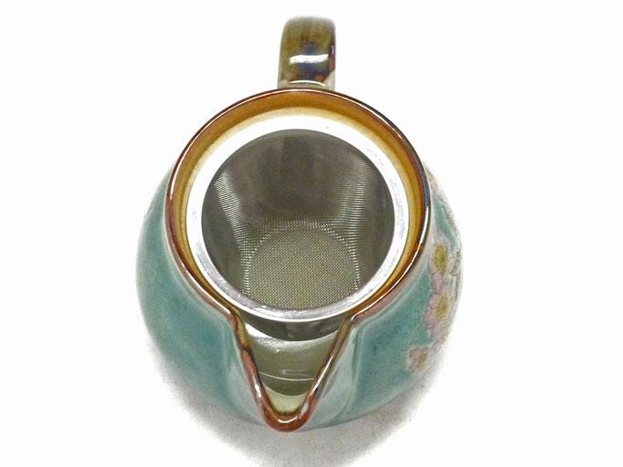 九谷焼通販 急須 茶器 ポット 大 ソメイヨシノ緑塗り 裏絵 中の図