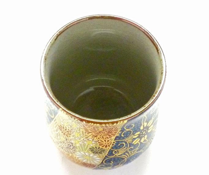 九谷焼【お湯呑】小 青粒+金花詰(傑作)『裏絵』