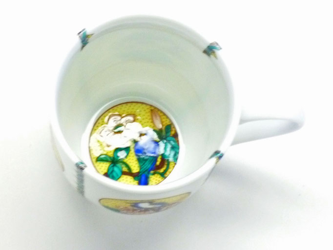 九谷焼【マグカップ】(磁器)丸紋吉田屋花鳥 小紋付 中裏絵