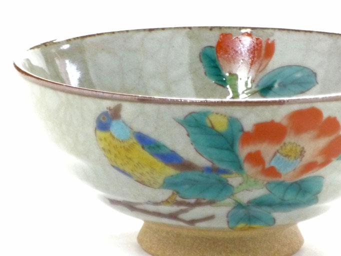 九谷焼【飯碗】大 椿に鳥【中絵】