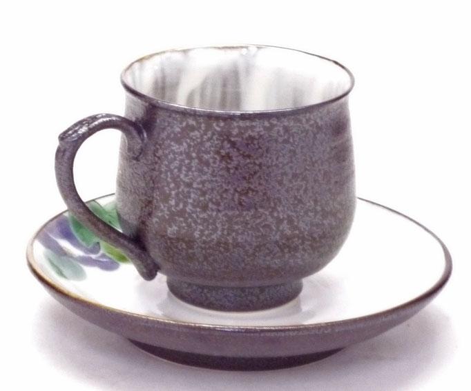 九谷焼通販 おしゃれ ギフト カップ&ソーサー コーヒカップ コーヒー碗  紫椿