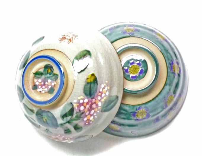 九谷焼通販 おしゃれな飯碗 ご飯茶碗 ペア飯碗 がく紫陽花ピンク+ピンク&グリーン地桜 裏絵 上からの図