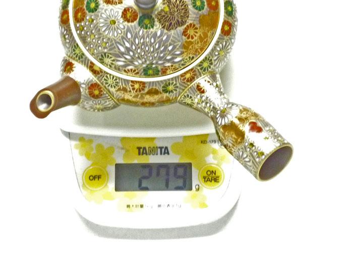 九谷焼通販 おしゃれな萬古焼コラボ急須 小 加賀のお殿様・お姫様キブン 重量の図