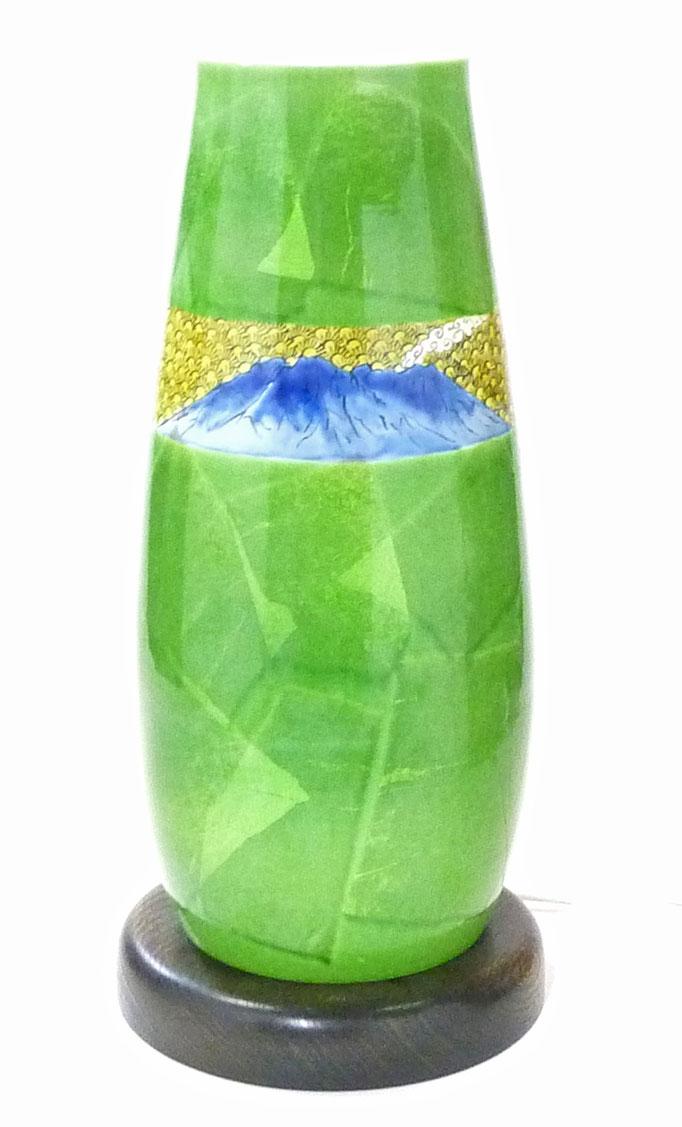 九谷焼 ランプシェード 桜島 銀彩緑 透光性粘土