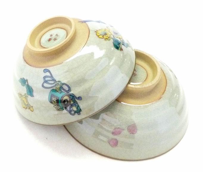 百華園-九谷焼『ペア飯碗』金糸梅に鳥&ソメイヨシノ