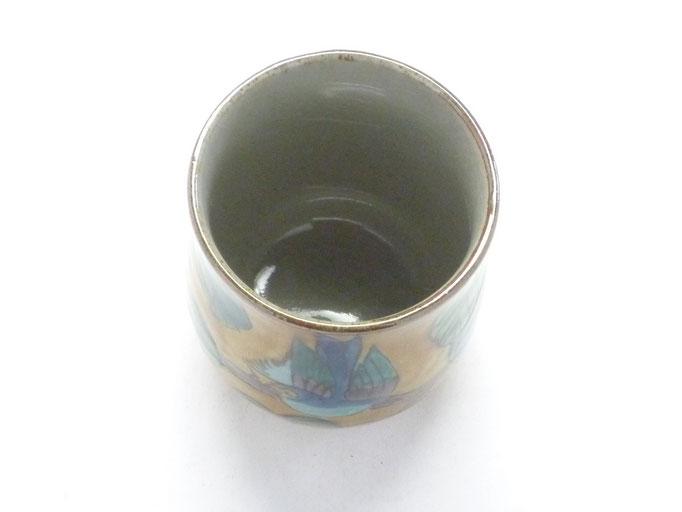 九谷焼 お湯呑 小 吉田屋(濃い塗り)花鳥 裏絵