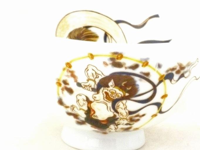 九谷焼 飯碗 ご飯茶碗 和食器 風神雷神