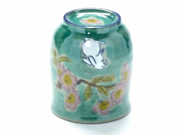 九谷焼通販 お湯呑 湯飲み ゆのみ茶碗 おしゃれ 小 白兎ソメイヨシノ緑塗り 裏絵 正面の図