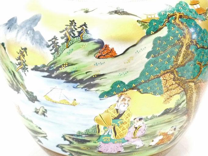 九谷焼通販 おしゃれな花瓶 花器 本金山水 青粒 10号 アップの図