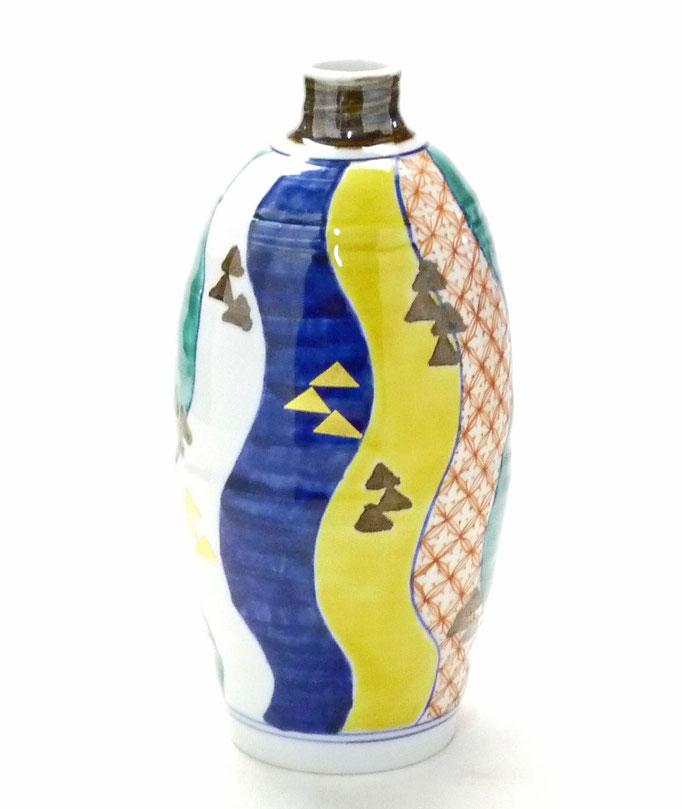 九谷焼通販 おしゃれな花瓶 花器 色絵 紙風船 後ろからの図