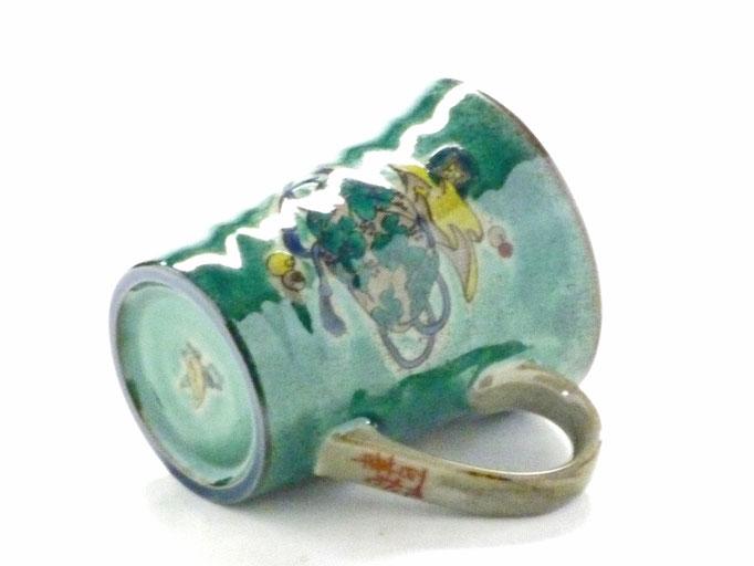 九谷焼【マグカップ】宝尽くし緑塗り『中裏絵』
