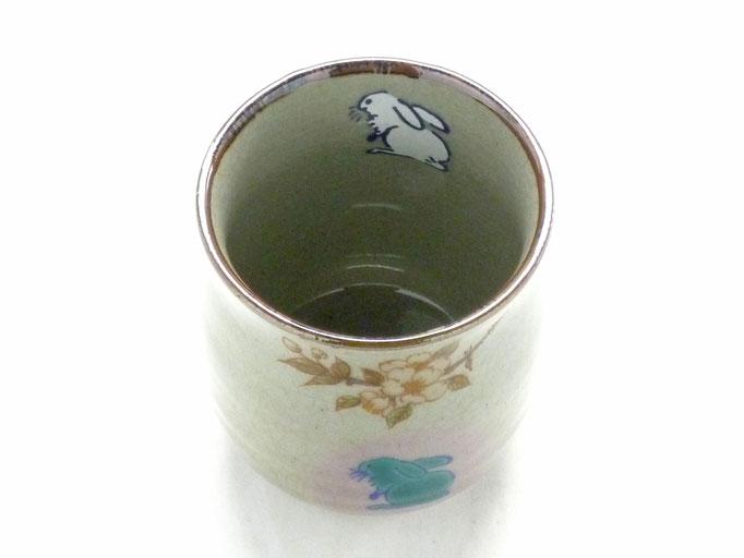 九谷焼『お湯呑』大 白兎ソメイヨシノ『中裏絵』