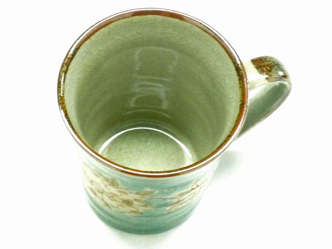 九谷焼【マグカップ】しだれ桜 緑塗り【裏絵】