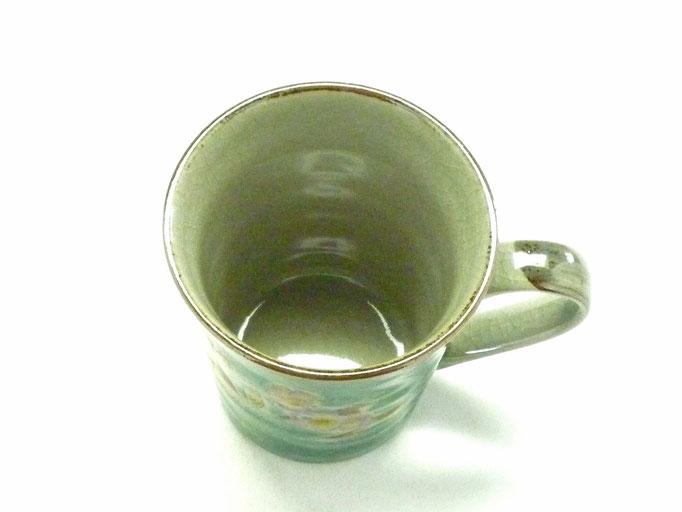 九谷焼【マグカップ】ソメイヨシノ 緑塗り【裏絵】