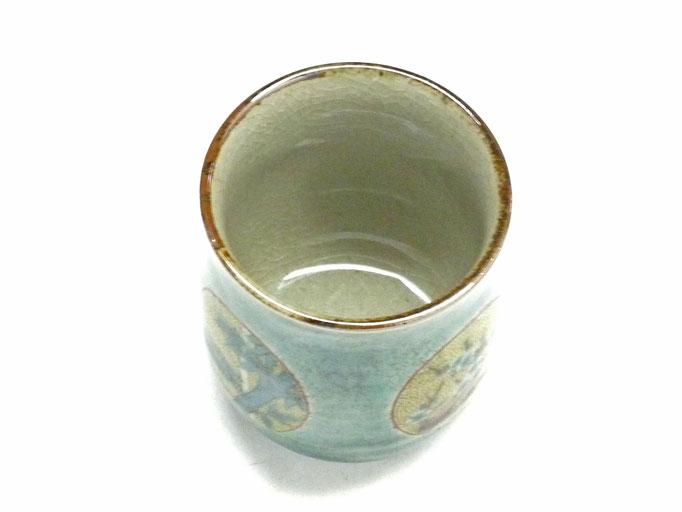 九谷焼『お湯呑』大 丸紋松竹梅緑塗り『裏絵』