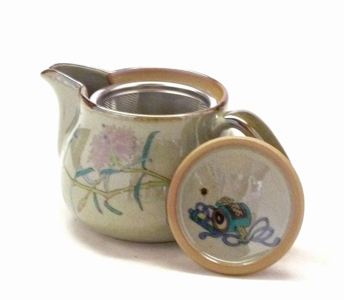 九谷焼通販 おしゃれな急須 茶器 ティーポット 小 白兎なでしこ『裏絵』蓋裏の図