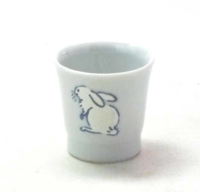 九谷焼通販 おしゃれ 酒器 ぐい呑み 盃 ウサギ なでしこ