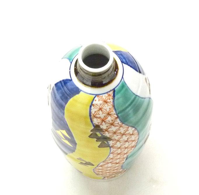 九谷焼通販 おしゃれな花瓶 花器 色絵 紙風船 上からの図