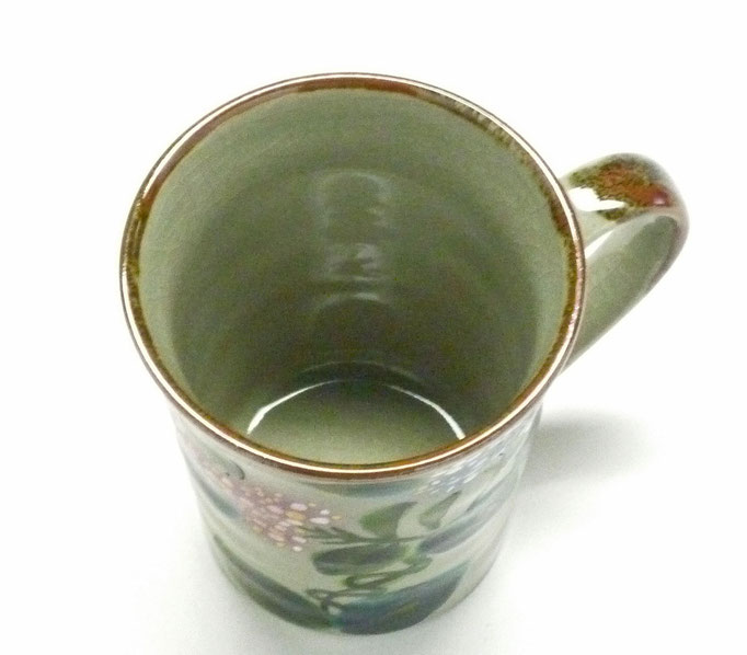 九谷焼『マグカップ』がく紫陽花 ピンク&ブルー『背中・裏絵ブルー』