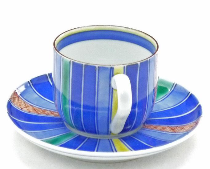 九谷焼通販 おしゃれ ギフト カップ&ソーサー コーヒカップ コーヒー碗  線紋