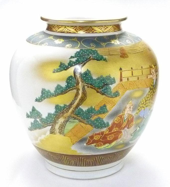 九谷焼通販 おしゃれな花瓶 花器 本金 六歌仙 青粒 後ろからの図