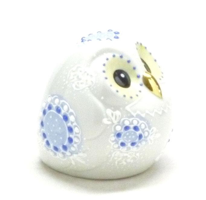 九谷焼『縁起置物』ふくろう デコ盛 白 2.2号