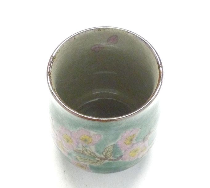 九谷焼通販 お湯呑 湯飲み ゆのみ茶碗 おしゃれ 大 ソメイヨシノ緑塗り 中絵  中の図