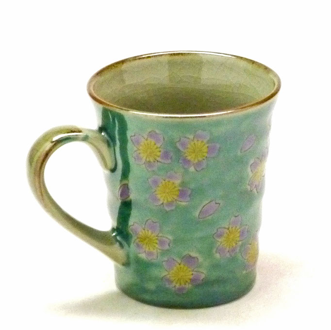 九谷焼通販 おしゃれなマグカップ マグ グリーン地桜 裏絵 背中の図